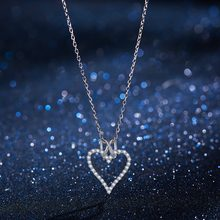 Fashion Love Heart Necklace Silver 925 Pendant Necklaces for Women Chain Wedding Necklace Girl Gift Jewelry(China)