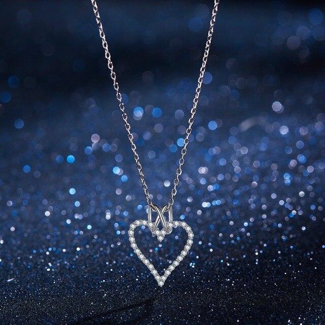 Moda Do Amor Do Coração Colar de Pingente De Prata 925 Colares para As Mulheres Colar de Casamento Cadeia de Jóias Presente Da Menina