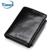 2017 Genuine Leather Men Wallets Casual Short Card Holder Luxury Cowhide Coin Purse New Design Oil
