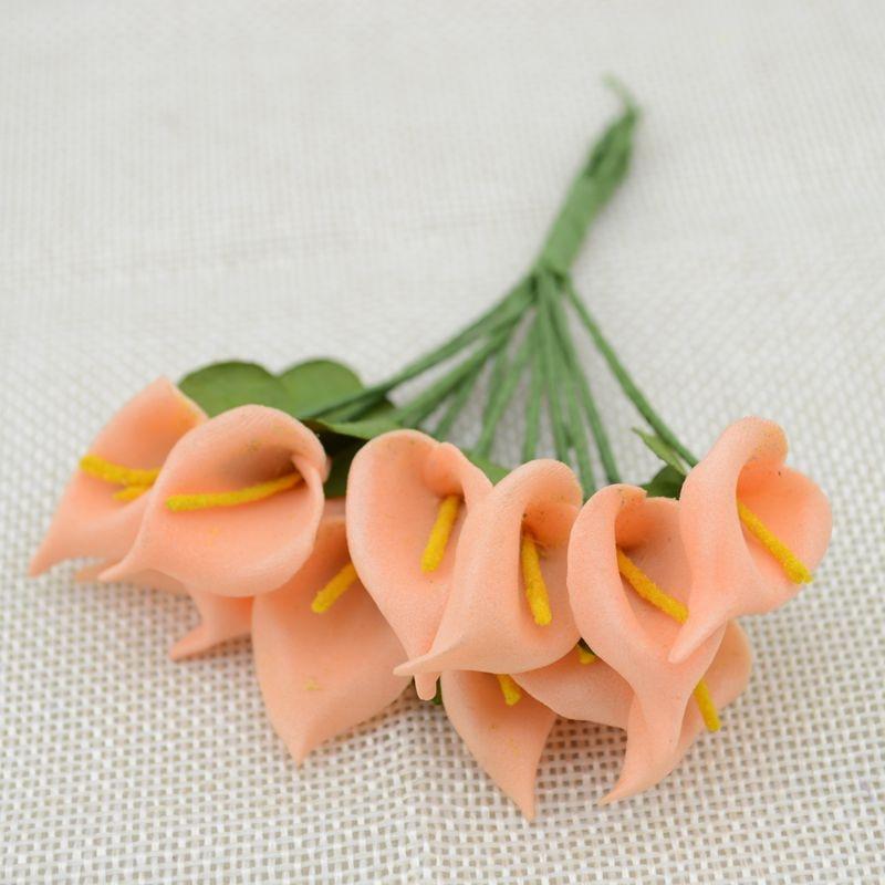 12 шт. мини пена Калла ручной работы искусственный цветок свадебное оформление букета DIY ВЕНОК Подарочная коробка Скрапбукинг Ремесло поддельные цветы - Цвет: Orange