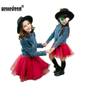 WEONEDREAM Denim Jacket Sleeveless Dresses Family Look Matching Mother Daughter Clothes Dress Family Matching Outfits