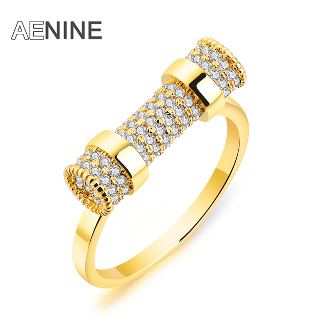 AENINE Luxury Horseshoe Buckle Shape Wedding Ring For Women Gold