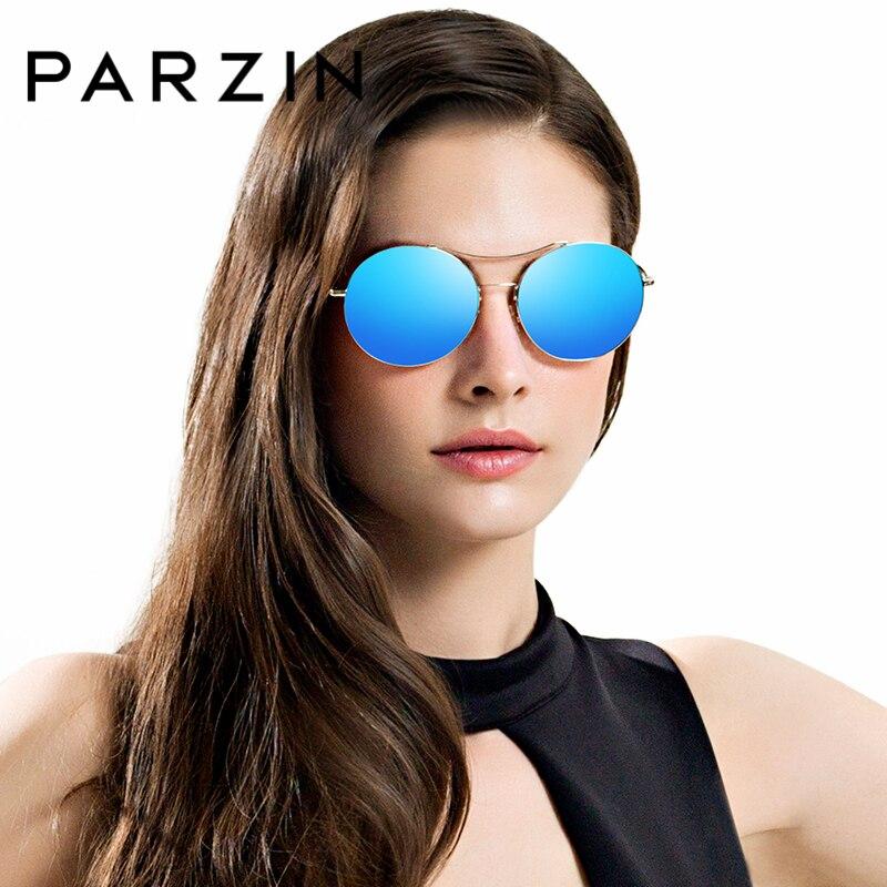 PARZIN Sunglasses Retro Round Lens Metal Frame Driving Sun Glasses New Fashion Hot Summer Anti UV400