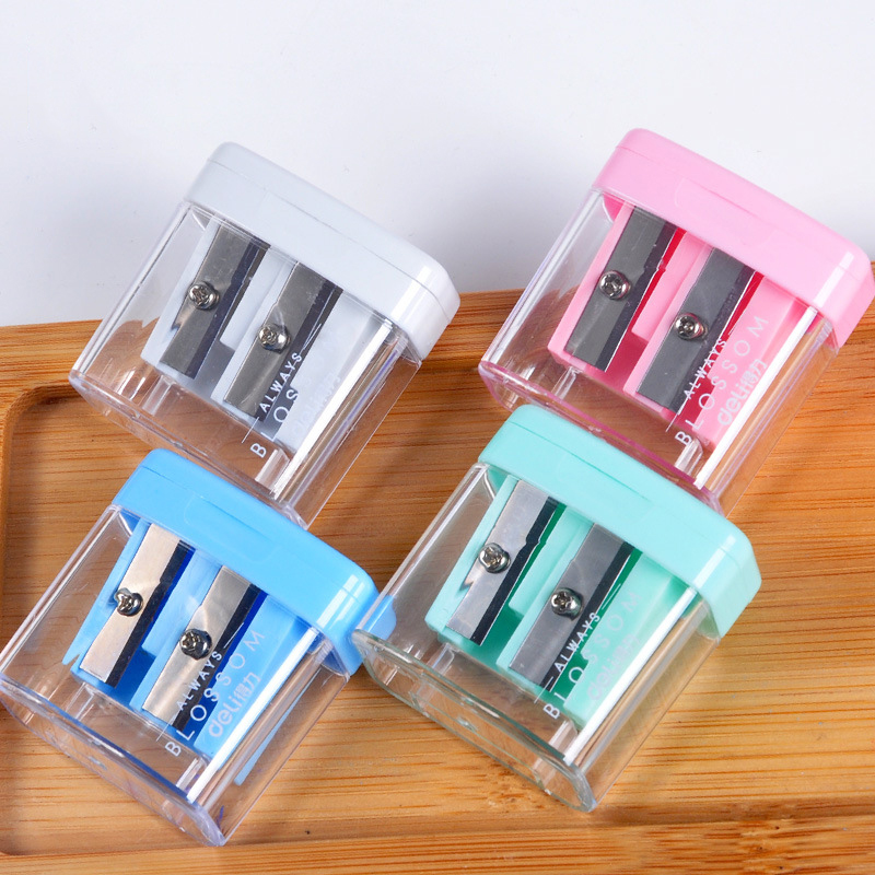 Double Holes Plastic Pencil Sharpeners Candy Color Transparent Standard Pencil Cutting Machine Student School Office Stationery