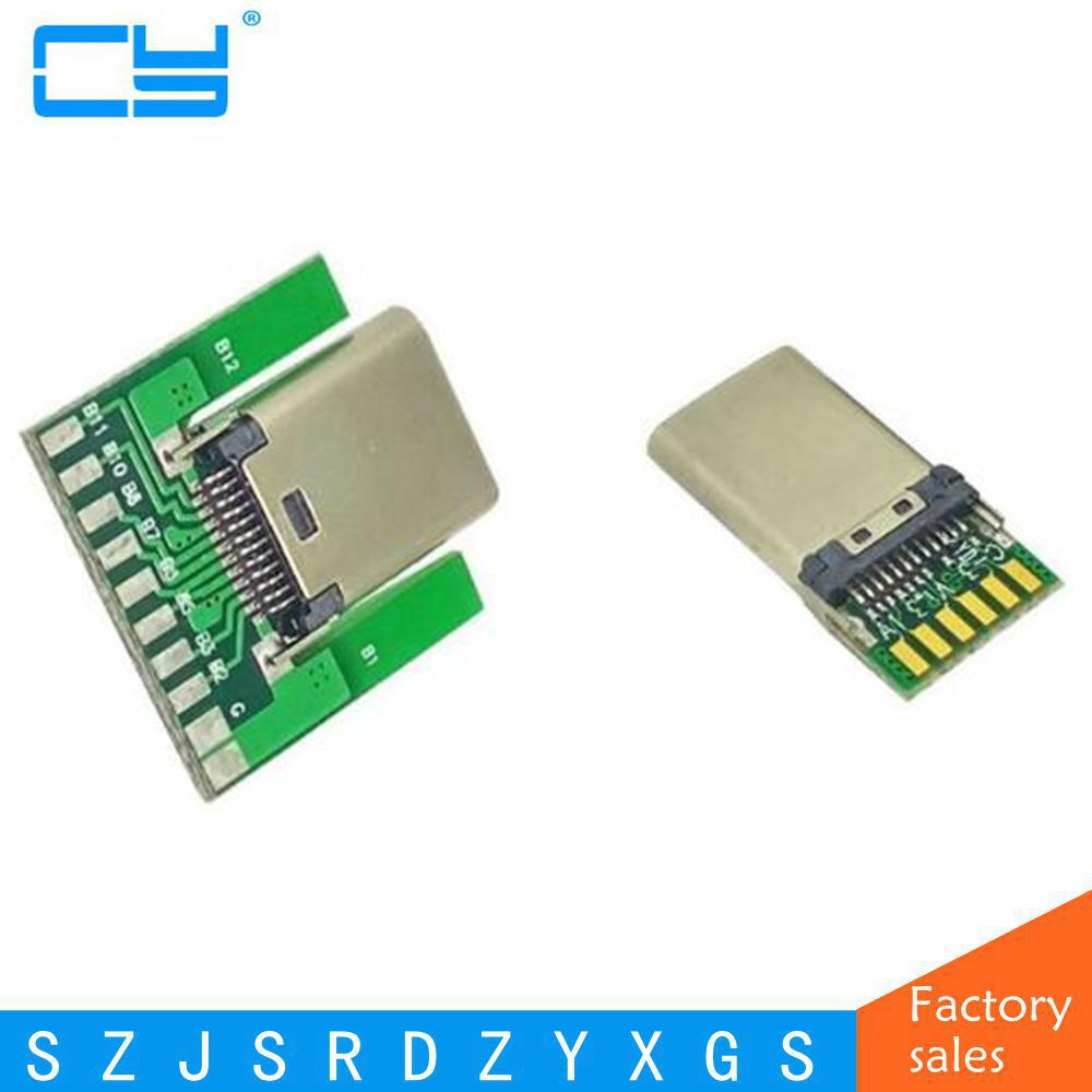 DIY 24pin USB 3.1 Type C Male & Female Plug & Socket Connector SMT type with PC Board