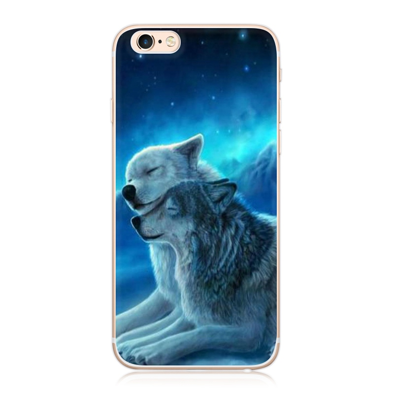 brand new 88cb0 8a909 Cute Animals Cheetah Wolf Tiger Printed Pattern Phone Case For iPhone 7 6  6S Plus 5S SE 5 Soft TPU Back Cover Fundas Capa on Aliexpress.com | Alibaba  ...