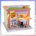 C005 beber leite loja de chá diy casa de boneca Em Miniatura casa de bonecas LEVOU luz loja Europeia frete grátis
