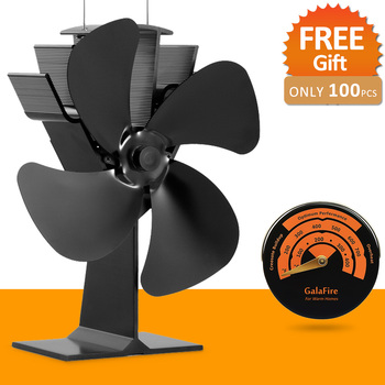 [ 2 Years Warranty ] Hot Sale Model Promotion Blows Heat Up to 300 f/m 4 Blades Heat Powered Wood Stove Fan Eco Stove Top Fan