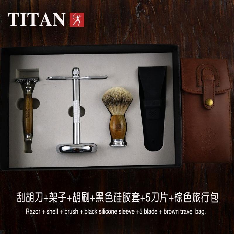 Titanová klasická bezpečnostní holicí strojka s dvojitým okrajem holení bezpečnostní holicí strojka sandálová rukojeť z nerezové oceli