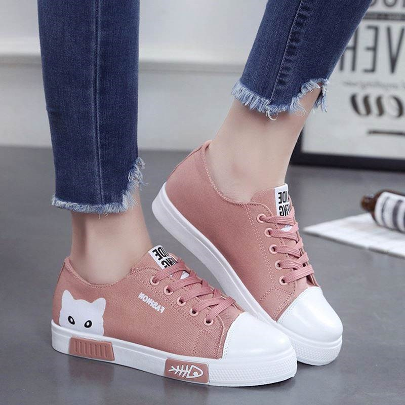 77a39037573 US $13.81 20% OFF|Women Flat Cartoon Canvas Shoes 2018 New Summer White  Lace Up Student Board Shoes Ladies Casual Shoes Female Sneakers-in Women's  ...