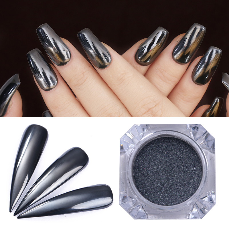 Us 0 84 15 Off 1 Box 0 5g Mirror Silver Black Nail Powder Shinning Chrome Pigment Manicure Nail Art Glitter Dust Decoration For Uv Gel In Nail