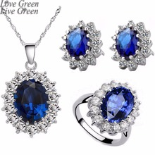 Queen Royal ocean blue 18K white gold austrian crystal rhinestones zircon pendant chain necklace earrings ring Jewelry sets 8585