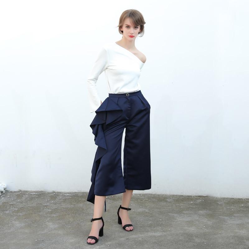 CHICEVER 2018 de pantalones para las mujeres de cintura alta pantalones de pierna  ancha mujer Palazzo Casual de gran tamaño ropa de otoño coreano en ... f2ca1f22366