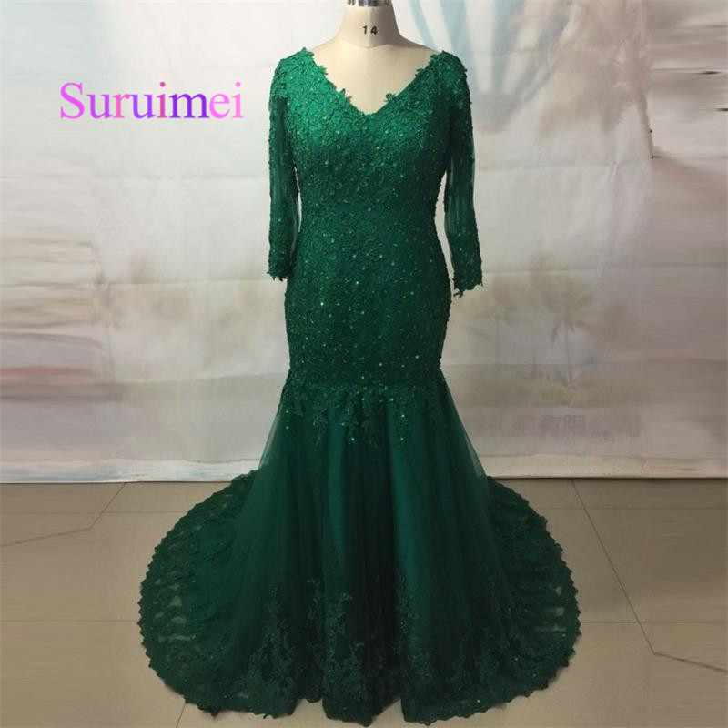 Sexy Green Appliques Lace Mermaid Evening Dresses V-Neck Backless Formal Prom Party Gowns Elegant Formal Evening Dress 2019