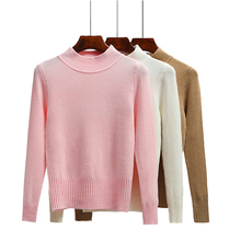 Korean 2016 Women Sweater Winter Casual Solid Semi Turtleneck Pullover Long Sleeve Warm Slim Cashmere knit Sweater High Quality