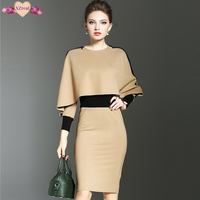 Elegant Batwing Sleeve Patchwork Bodycon Dress Long Sleeve Sheath Pencil Dress Women Autumn Fashion Evening Party
