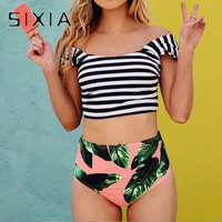 Striped Green Palm Leaf Bikini Cute Tankini Bandeau Off Shoulder Bikini Set High Waist Swimwear Women