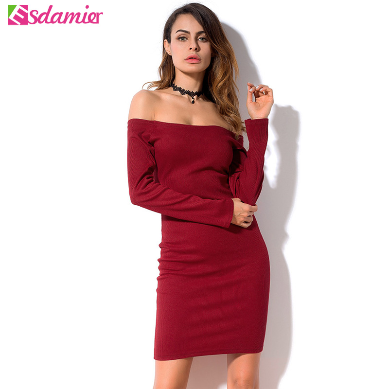Spring Long Sleeve Knitted Dress Women Casual Off Shoulder Bodycon Dress Basic Robe Femme Black Wine Red Simple Dress For Women elegant wine red stand collar long sleeve dress for women for women