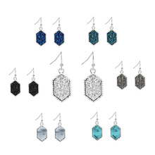 2019 Fashion Simple Drop Earrings Austrian Crystal Geometric Circular Colorful Stone Temperament Jewelry for Women