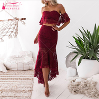 Hot Fashion Short Front Long Back Lace Cocktail Dresses Cut Out Lace Party Dress Gown Blue Burgundy Homecoming Dress ZHM063