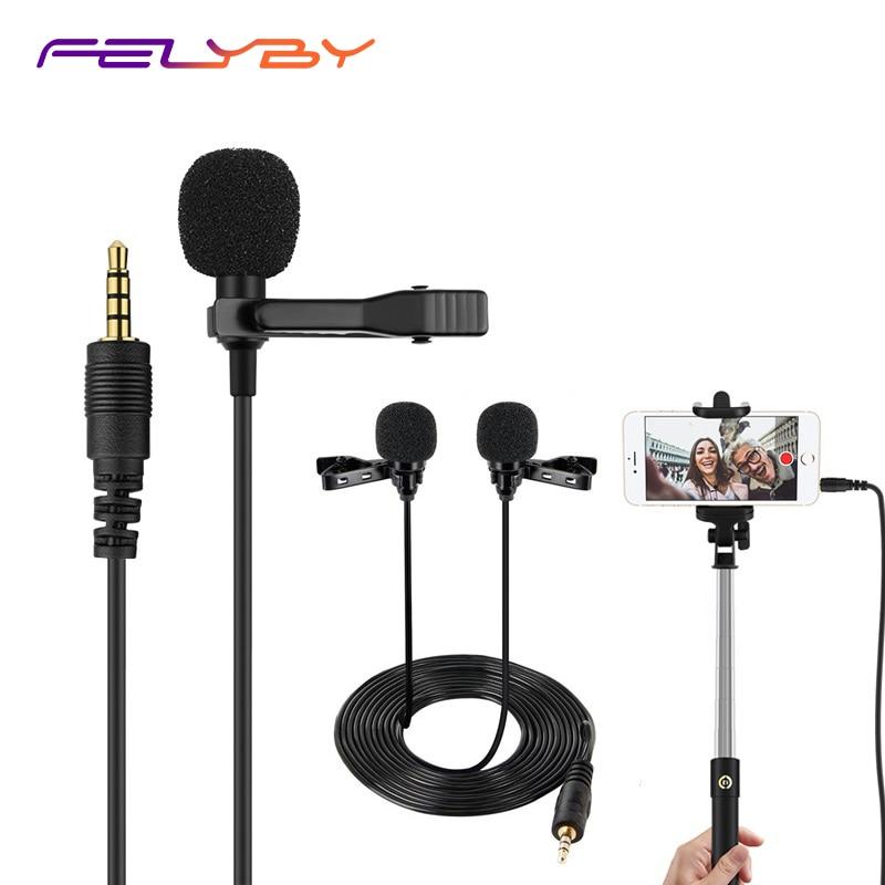 Lavalier microphone3.5mm professionelle kondensator doppel kragen mini mikrofon für vortrag lehre interview