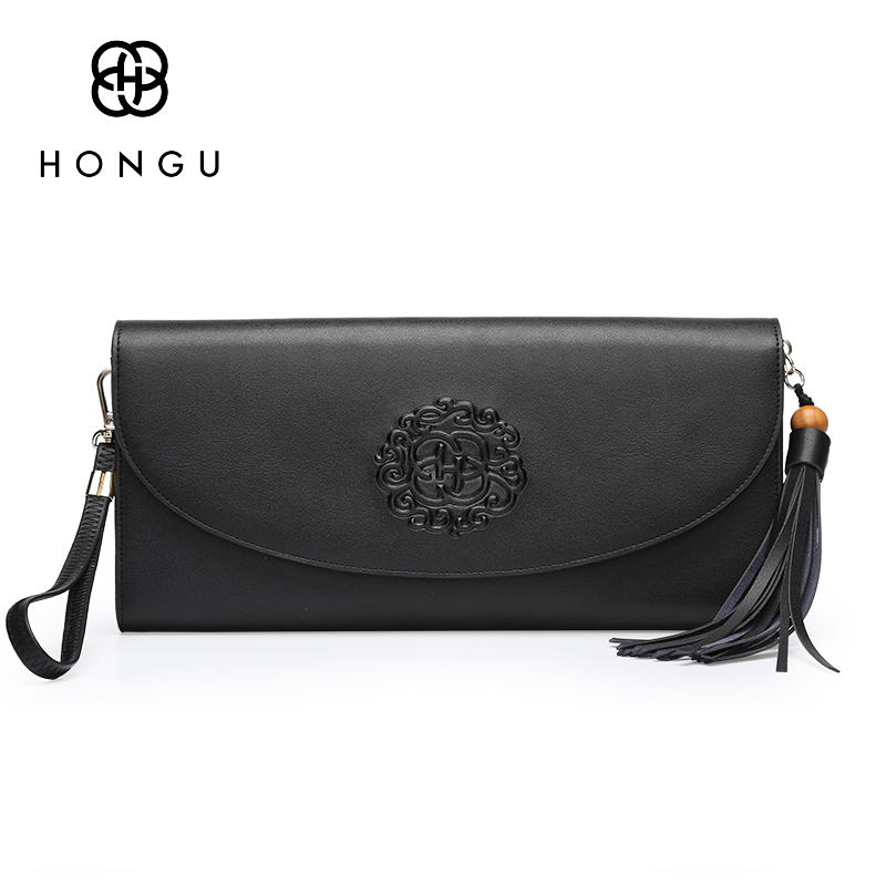 Hongu Light Luxury Genuine Leather Women Handbags National Tassel Vintage Clutch Evening Bag women crossbody bags designer louis chispaulo women genuine leather handbags cowhide patent famous brands designer handbags high quality tote bag bolsa tassel c165