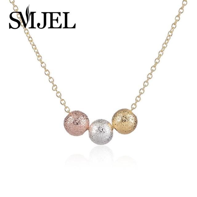 SMJEL Classic Crystal Pretty 3 Mini Color Balls Necklaces Sphere Necklace for Women N086