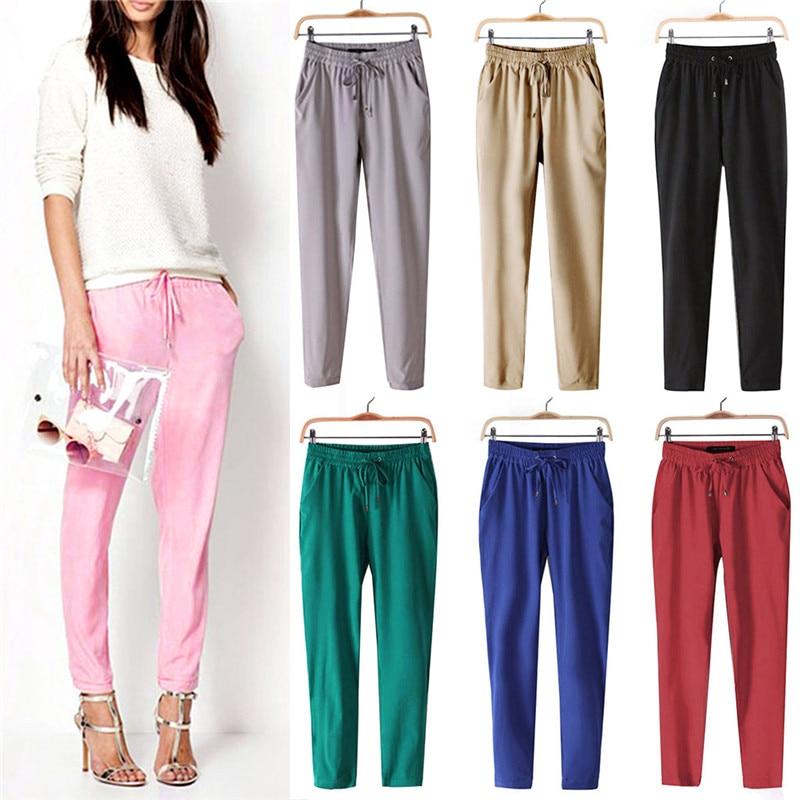 Casual Women Chiffon Pants Elastic Waist Solid Color Office OL Pants Bright Color Summer Slim Lady Pants 2018 Hot Sale