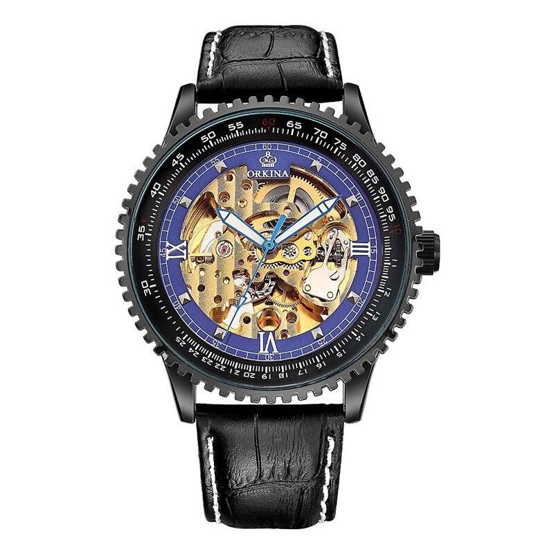 ФОТО Orkina Men Stainless Steel Leather Wrist Watch Brand Mechanical Watches, 180~222x24mm