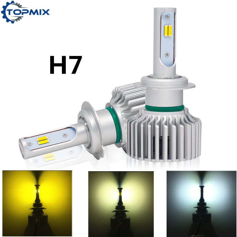 Car 3000K 4300K 6000K H7 3 Color In One H4 LED Bulb Headlight White Yellow 60W CSP LED Headlight Fog Light H8 H11 9005 9006 9012