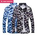 2016 Top Fashion Oferta Especial de Impressão Regular Completa Camisas Dropshipping Camuflagem Camisa dos homens Camisa de Algodão de Mangas Compridas, tx47
