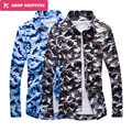 2016 Top Fashion Special Offer Print Regular Full Camisas Dropshipping Camouflage Shirt Men's Sleeved Cotton Shirt,tx47
