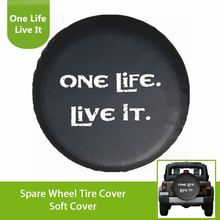 White Print One Life Live It Black PU Leather Spare Tire Cover For Jeep VW BMW Sahara Rubicon Hummer Toyota FJ Cruiser Suzuki one life live it offroad offroader mountain silhouette stickers sticker