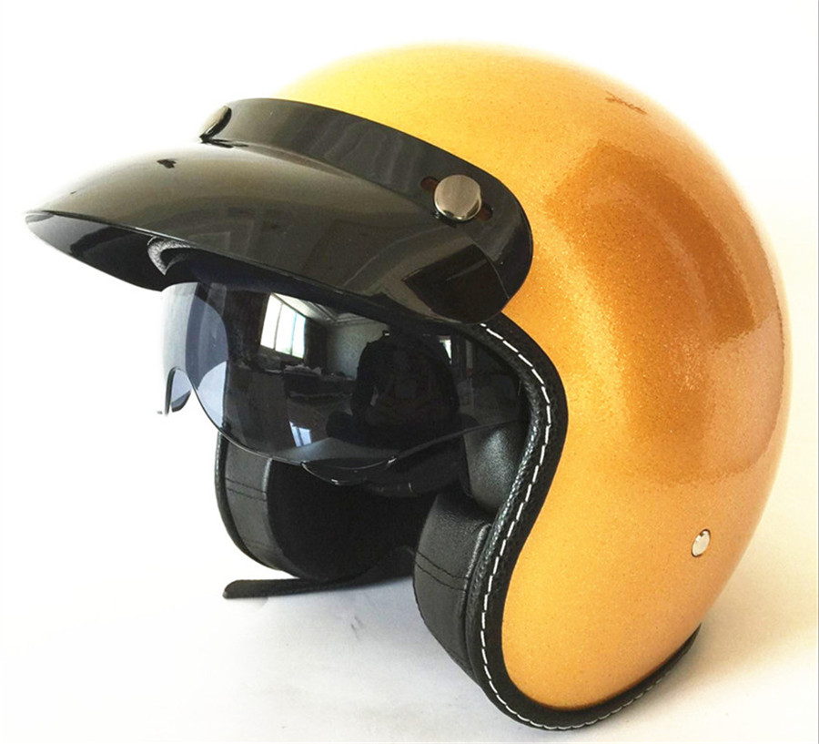 Free Shipping Gold Approved Motorbike Motorcycle Bike Crash Helmet Vintage Motocross Helmet With Inner Dark Visor France Love It