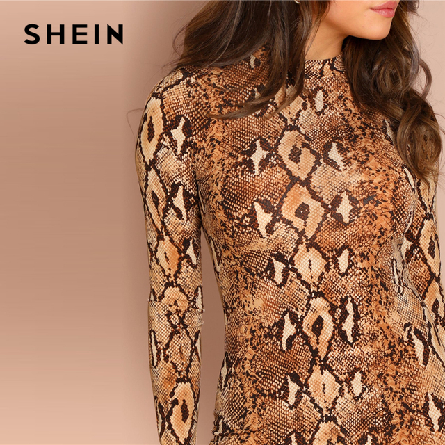 Brown Snake Skin Mock Neck Long Sleeve Skinny Short Dress