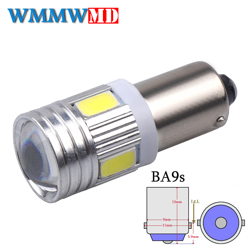 1Pcs BA9S 6 SMD 5630 LED Canbus lamps Error Free t4w h6w Car LED bulbs interior Lights Car Light Source parking 12V White 6000K