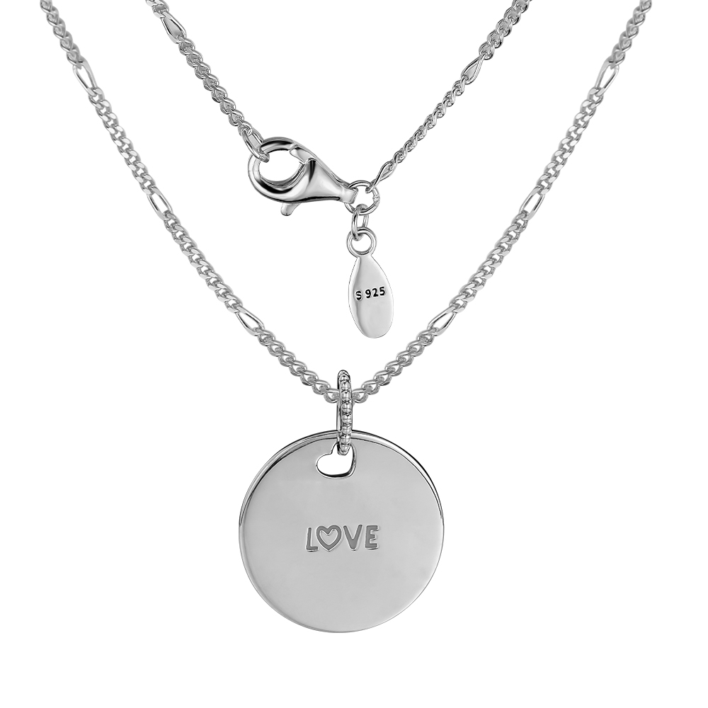 100% 925 Sterling Silver Jewelry Love Disc Necklace Free Shipping