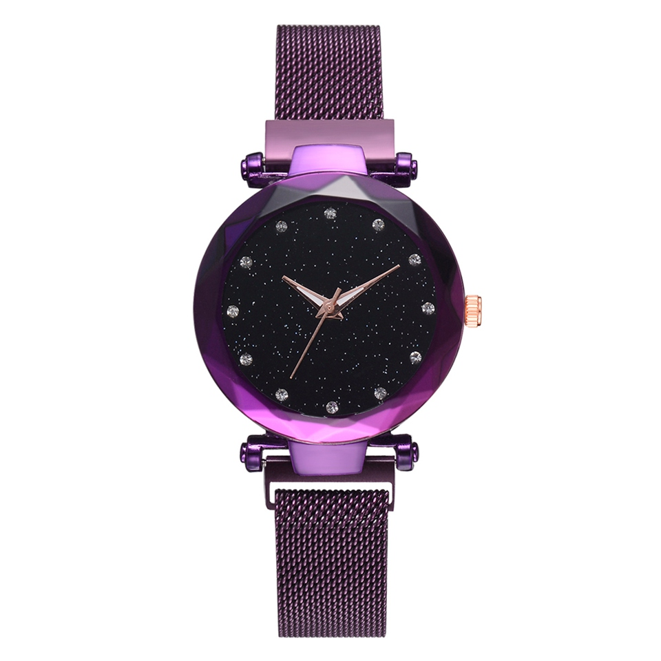 Top Brand Watches For Women Rose Gold Mesh Magnet Buckle Starry Quartz Watch Geometric Surface Casual Women Quartz Wristwatch-30