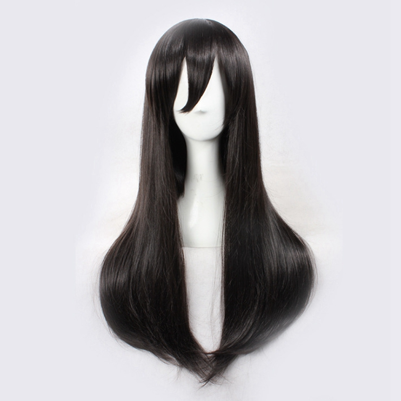 MekakuCity Actors Tateyama Ayano Cosplay Wigs for Women Female Fake Hair 70cm Long Straight Synthetic Hair Wig Dark Brown