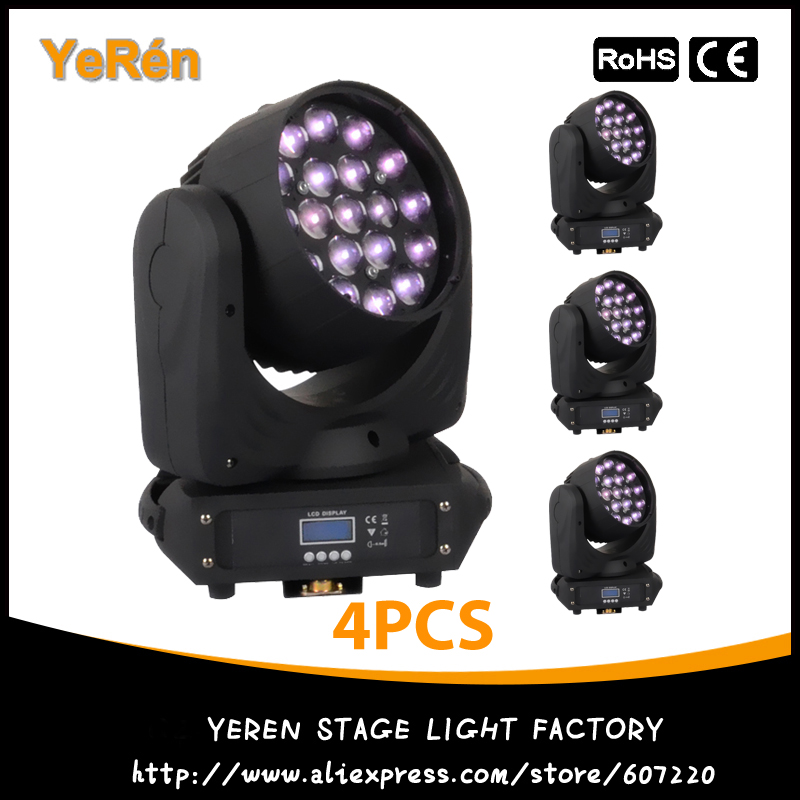 купить (4PCS) Led Zoom Moving Head Light 19*12W RGBW DMX 16CHs Stage Effect Disco Dj Bar Light онлайн