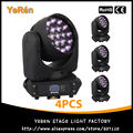 (4PCS) Led Zoom Moving Head Light 19*12W RGBW DMX 16CHs Stage Effect Disco Dj Bar Light