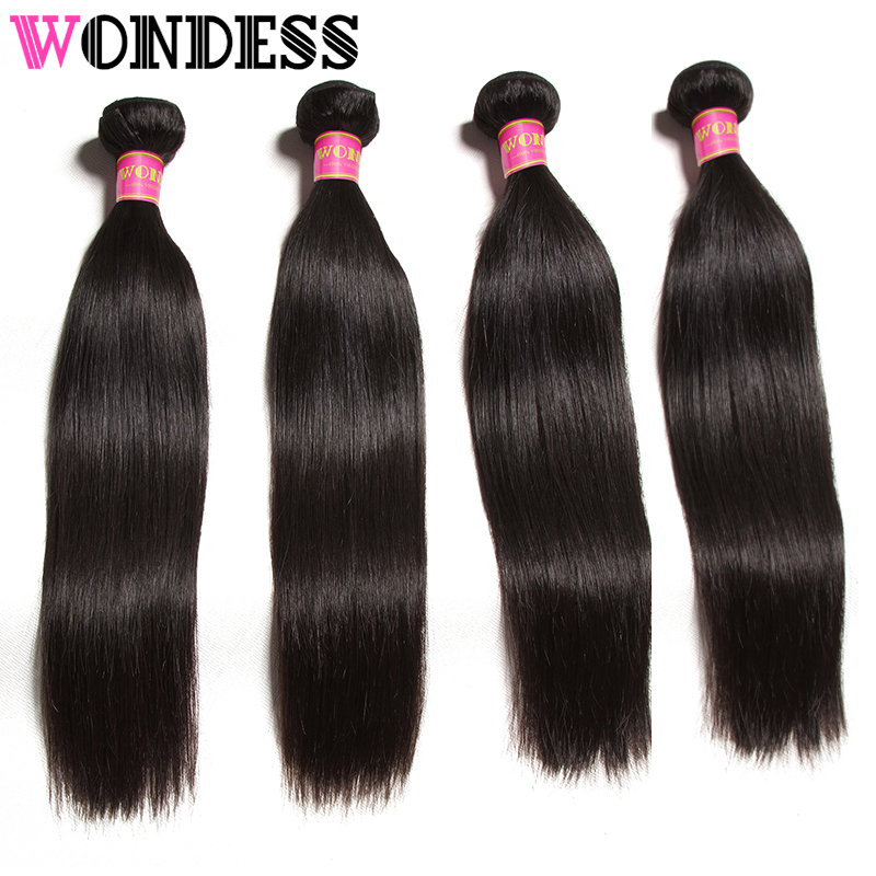 Wondess Hair 4 PCS Straight Hair Bundles 8-30inch Unprocessed Peruvian Virgin Hair Natural Color Human Hair Weave Free Shipping