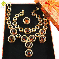 Fine Jewelry Sets African Beads Collar Statement Necklace Earrings Bracelet Ring For Women CZ Diamond Wedding