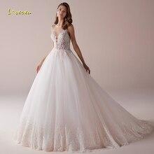 Сексуальное ТРАПЕЦИЕВИДНОЕ свадебное платье с открытой спиной Loverxu 2020, винтажные Свадебные платья на бретелях спагетти с аппликацией и бисером со шлейфом