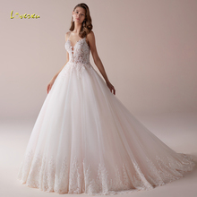 Loverxu Sexy Backless Sweetheart A Line Wedding Dresses 2020 Spaghetti Straps Appliques Beaded Court Train Vintage Bridal Gowns