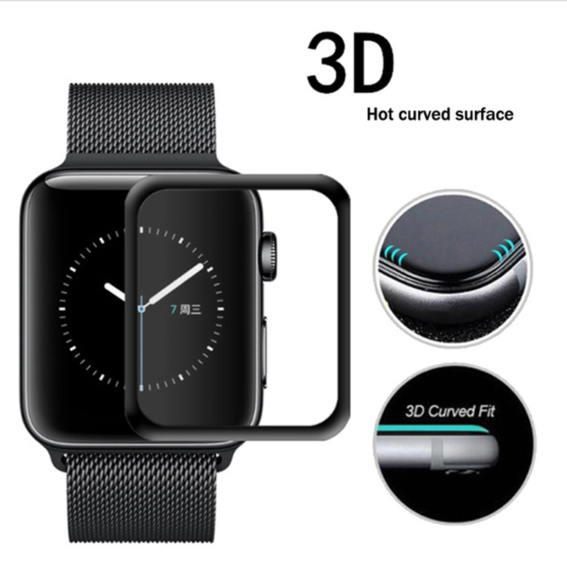 2PCS Full Cover 3D Curved For Apple Watch 38/42mm Series 3 2 1 Plating Tempered Glass Edge Screen Protector Film For iWatch