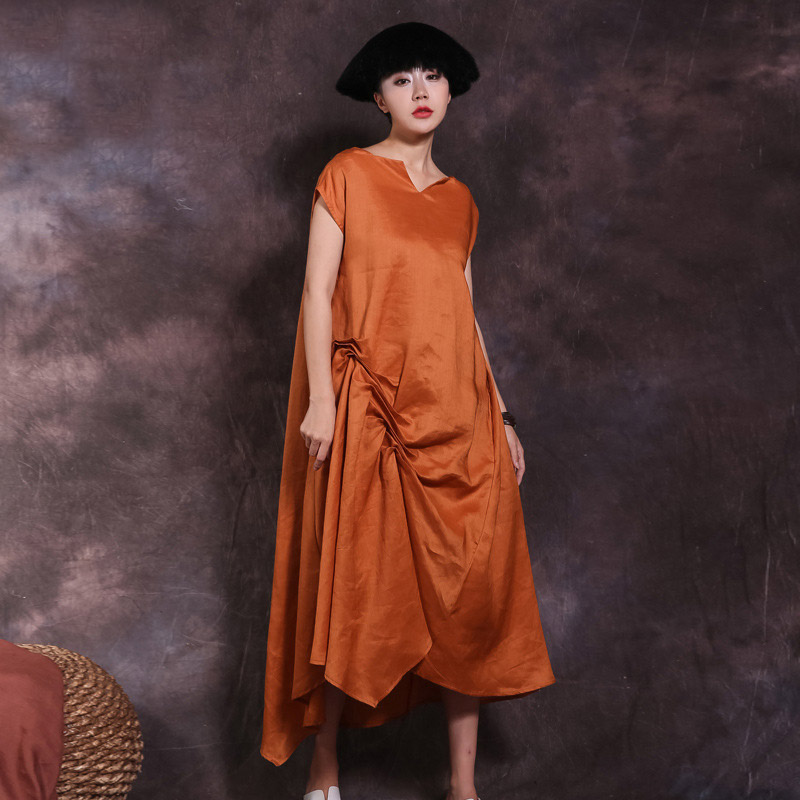 Johnature New Short Sleeve Raime Dresses Asymmetrical Collar 2019 Summer Solid Color Irregular Loose Vintage Art