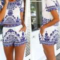 2016 New Summer style suits Women Retro Vintage Tile Prints Blue White Porcelain Pattern Short Sleeve Crop Top And Shorts Set