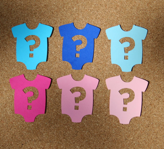 Gender Reveal Party Baby Onesie Scrapbooking Baby Shower Place Card