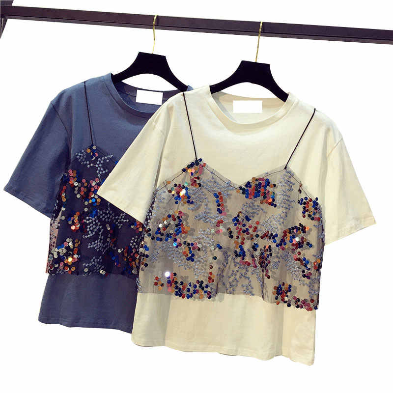 723ccd3b312 2018 New Summer Women Sequined T shirt Casual Loose Shirts Short Sleeve Mesh  Patchwork Fake Two